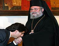 Kissing hand of Archbishop of Cyprus Chrysostomos